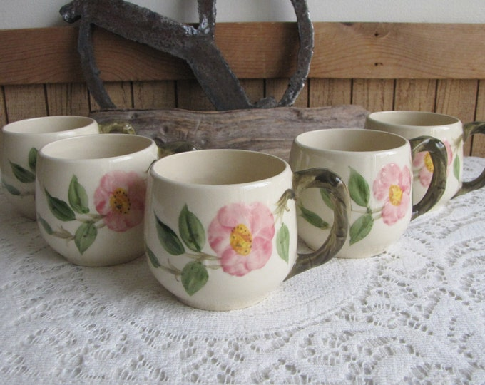 Franciscan Desert Rose Small Mugs Set of Five (5) Small Coffee Mugs Vintage Dinnerware and Replacements