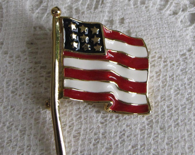 American Flag Brooch Vintage Jewelry and Accessories Fourth of July Lapel Pin