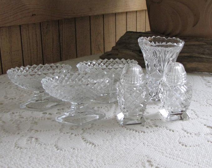 Vintage Crystal Kitchen Lot Salt Cellars, Salt and Pepper Shakers, Toothpick Holder