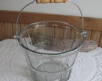 Glass Bushel Basket Vintage Anchor Hocking Kitchens and Entertaining 1950s