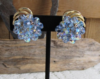 Blue Lucite Earrings Clip Ons Gold Toned Vintage Jewelry and Accessories