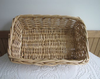 Willow Basket Rectangle Heavy Woven Gathering or Garden Trug Vintage Baskets and Home Decor