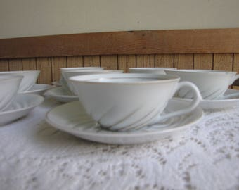 Vintage Occupied Japan Gold Swirled Tea Cups and Saucers Seven (7) Sets