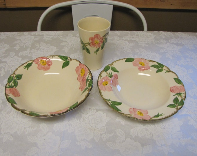 Franciscan Desert Rose Bowls and a Tumbler Vintage Dinnerware and Replacements Three (3) Pieces