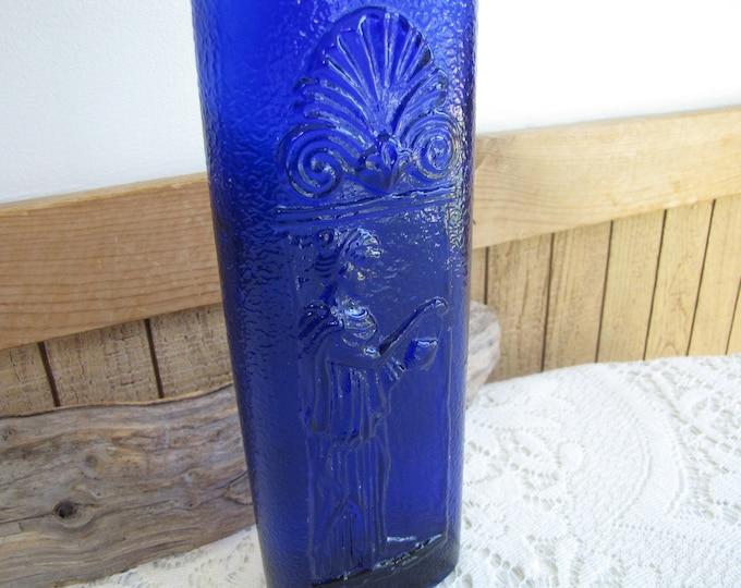 Cobalt Blue Liquor Bottle Vintage Decanters and Barware Grecian Lady Designed