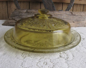 Amber Sharon Butter Dish Depression Glass Federal Glass Co. 1930-1935 Vintage Dinnerware and Replacements