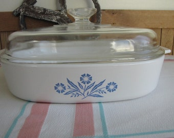 Corning Ware Cornflowers Casserole Dish Vintage Dinnerware and Cookware A-10-11 1957-1988