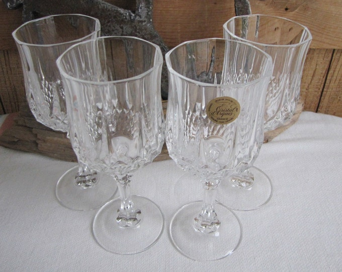 Cristal D'Arques Crystal Wine Glasses Longchamps Vintage Barware Set of Four (4) Made in France