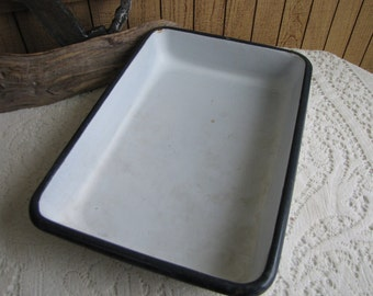 """Enamel Cookware 12"""" x 8.5"""" White with Black Trim Vintage Farmhouse Kitchens"""