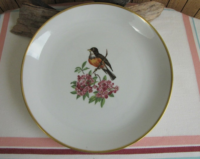 Schumann Chop Plate Single Bird on Flower Bavaria Arzberg Germany Gold Crown Vintage Dinnerware and Replacements