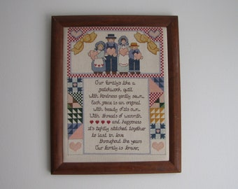 Embroidered family sampler picture Farmhouse Rustic
