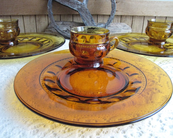 King's Crown Amber Snack or Luncheon Plates with Tea Cups by Colony Vintage Dinnerware and Replacements Thumbprint Pattern