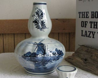 Vintage Blue Delft Musical Liquor Jar with Stopper Amsterdam Holland Windmills