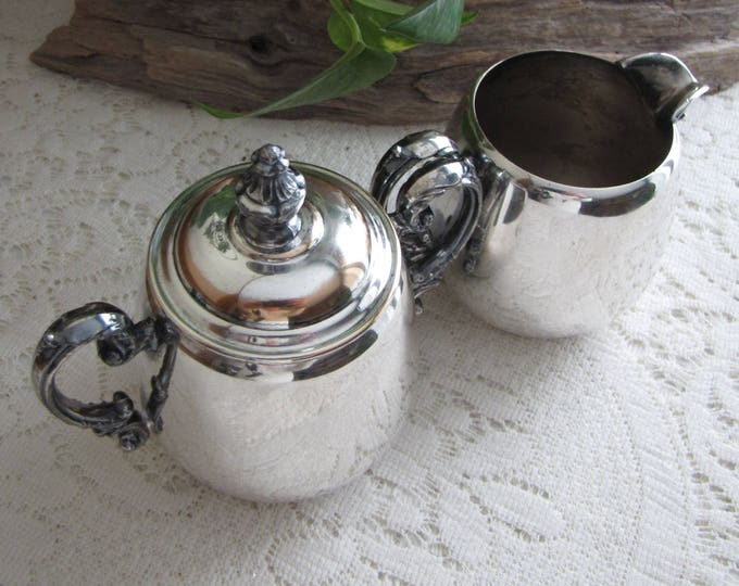 Antique Wm. Rogers Silver Plated Cream and Sugar Bowl Eagle and Star Makers Mark