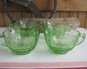 Green Depression Glass Coffee Cups Anchor Hocking Circle Set of Four (4) Vintage Dinnerware and Replacements 1930 to 1935