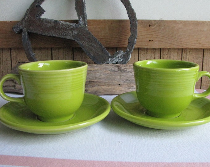 Fiesta Chartreuse Cups and Saucers Homer Laughlin Vintage Dinnerware and Replacements (1990s) Set of Two (2) 1997-1999