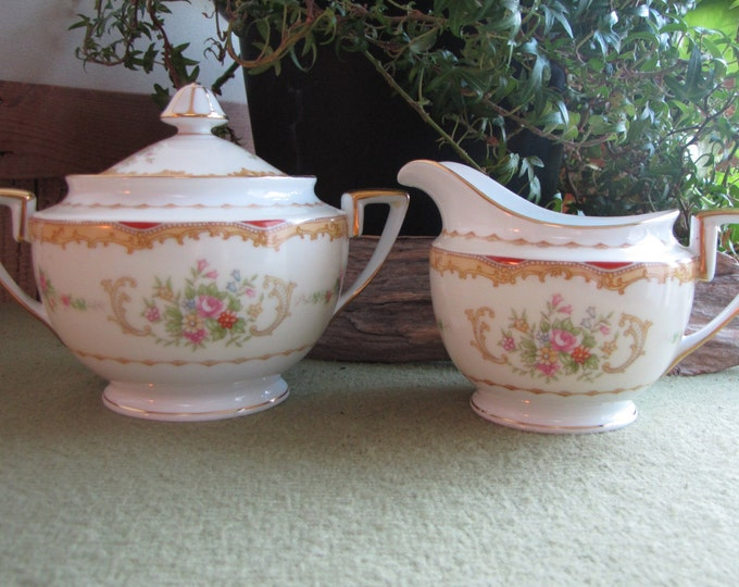Noritake Lidded Sugar Bowl and Cream Pitcher Vintage Dinnerware and Replacements Set circa 1930s Red and Gold