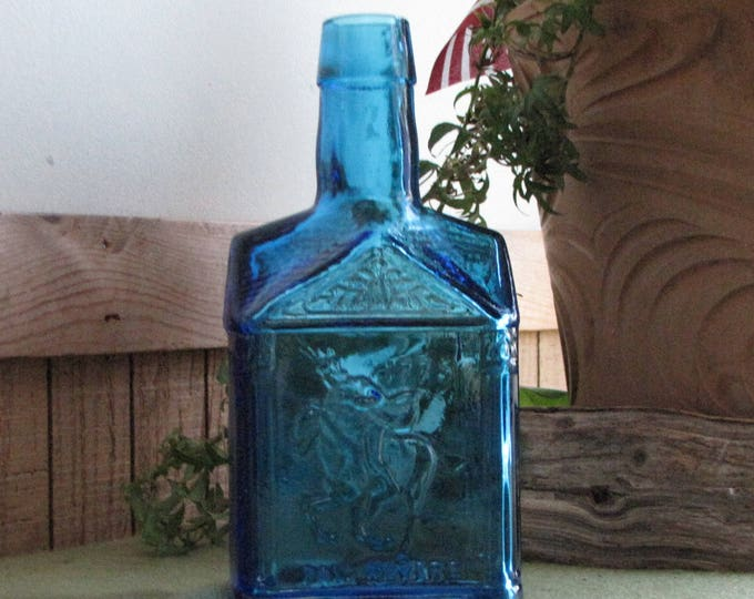 Blue Paul Revere Syrup Bottle Wheaton Glass Circa 1970s Old Bottles Vintage Advertising Bottle Mary Wheaton Syrup