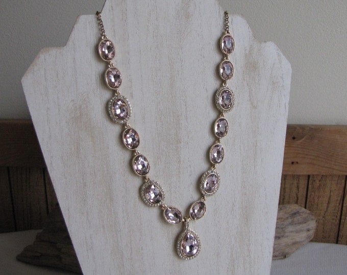 Pink Stones and Rhinestone Necklace Vintage Costume Jewelry and Accessories