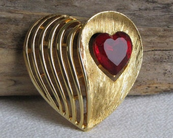 J.J. Gold Toned Heart Brooch with Red Stone Vintage Jewelry and Accessories