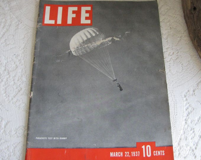 Life Magazines 1937 March 22 Parachute Test With Dummy