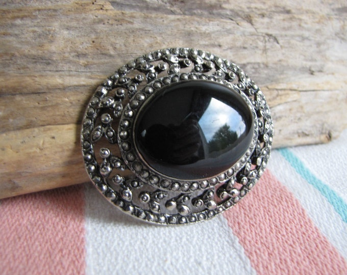 Black Large Cabochon Marcasite Brooch Vintage Jewelry and Accessories