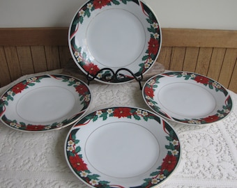 Deck the Halls Tienshan Dinner Plates Vintage Christmas Dinnerware and Replacements Set of Four (4) Plates