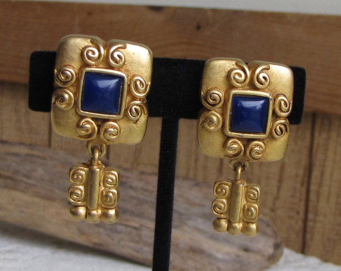 Venue Earrings Clip Ons with Square Cobalt Blue Cabochon Vintage Jewelry and Accessories