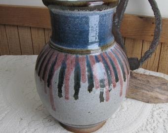 Vintage Walt Glass Art Pottery Gray Blue and Mauve Hand Thrown Vase