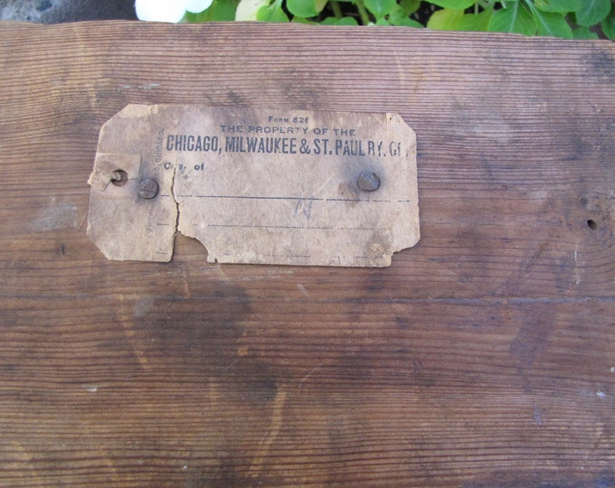 Chicago Milwaukee St. Paul Railroad Wooden Crate Vintage Storage and Freight