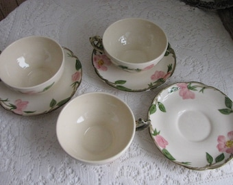 Franciscan Desert Rose Cups and Saucers Vintage Dinnerware and Replacements Set of Three (3) Made in California 1949-1953