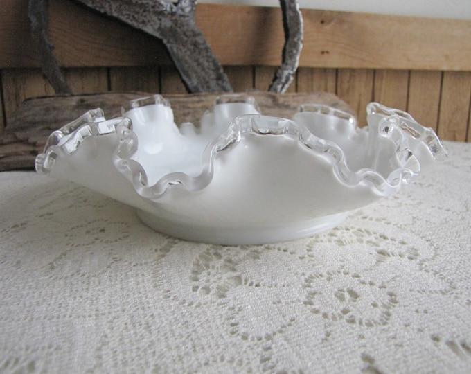 Fenton Silver Crest Bon Bon Dish Vintage Milk Glass Art Glass Crimped 1942-1986