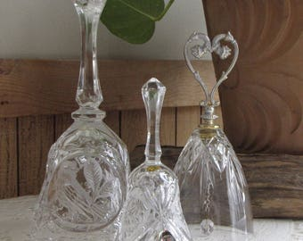 Vintage Crystal Bells Set of Three (3) The Byrdes Collection Hofbauer