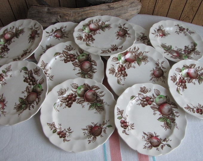 Harvest Time Bread Plates 1967-1978 set of 11 small plates Johnson Bros. Vintage Dinnerware and Replacements