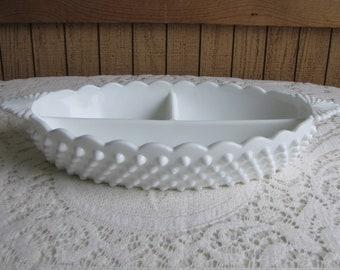 Fenton Milk Glass Hobnail Relish Dish Vintage Kitchens and Trays
