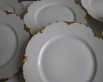 Haviland Ranson Salad Plates Vintage Dinnerware and Replacements Gold Trim Set of Six (6) Small Plates Circa 1920s