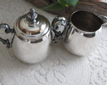 Antique Wm. Rogers Silverplated Cream and Sugar Bowl Eagle and Star