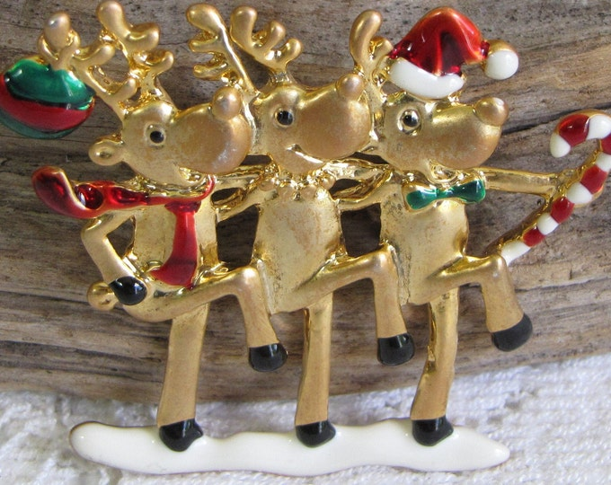 AJC Dancing Reindeer Brooch Vintage Christmas Jewelry and Accessories