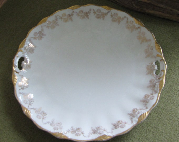 Antique Weimar Cake Plate White and Gold Trimmed Handled Serving Plate 1900s