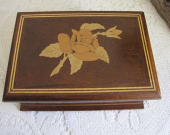 Vintage wood jewelry box floral inlayed
