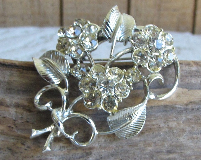 CORO Floral and Rhinestone Brooch Silver Toned Vintage Women's Jewelry and Accessories