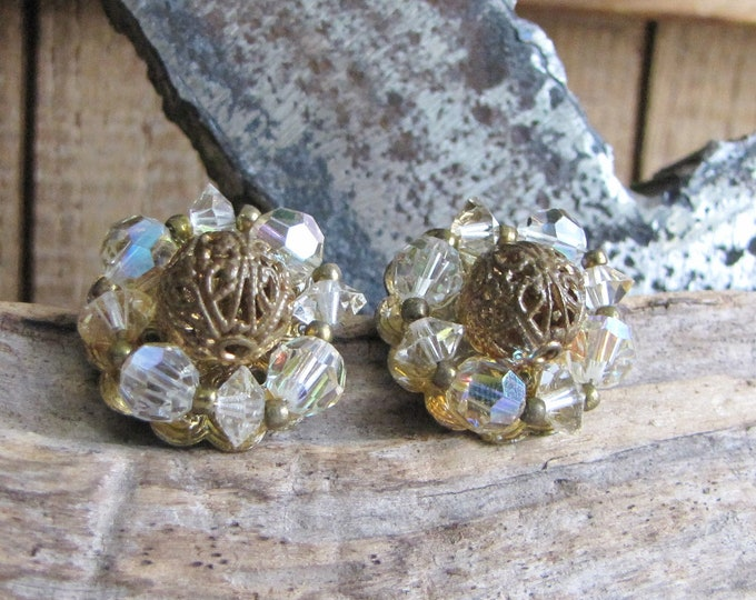 Lisner Clip On Earrings Glass Beads Filigree Vintage Jewelry and Accessories