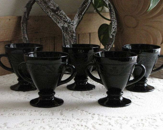 Hazel Atlas Black Cloverleaf Open Sugar Bowls 1930-1936 Depression Glass Dinnerware and Replacements Five (5)  Available Priced Individually