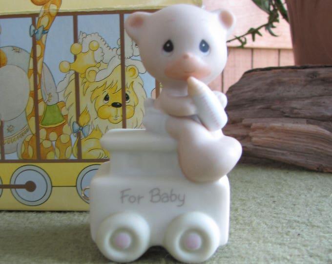 Precious Moments For Baby Birthday Series Train Bear Figurine Heart Symbol 1996 Retired