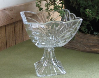 Vintage Compote Small Square Glass Pedestal Bowl Drapes and Fans Mid Century Modern