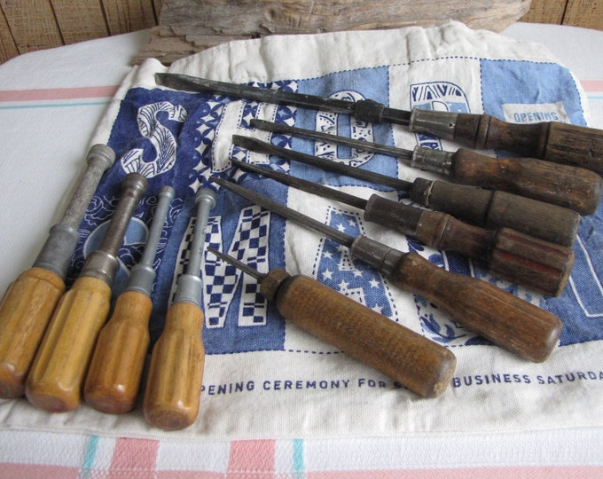 Vintage Screwdrivers and Nut Drivers Old Wood Handled Tools Lot of Ten (10)