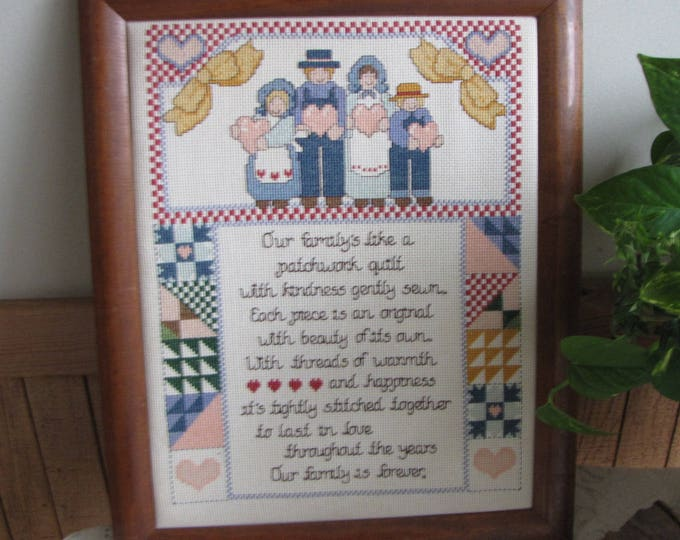 Vintage Embroidered Family Sampler Farmhouse and Rustic