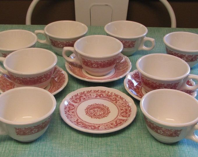 Strawberry Hill Coffee Cups and Saucers Syracuse China Restaurant Ware Discontinued Set of Two (2) 1970s