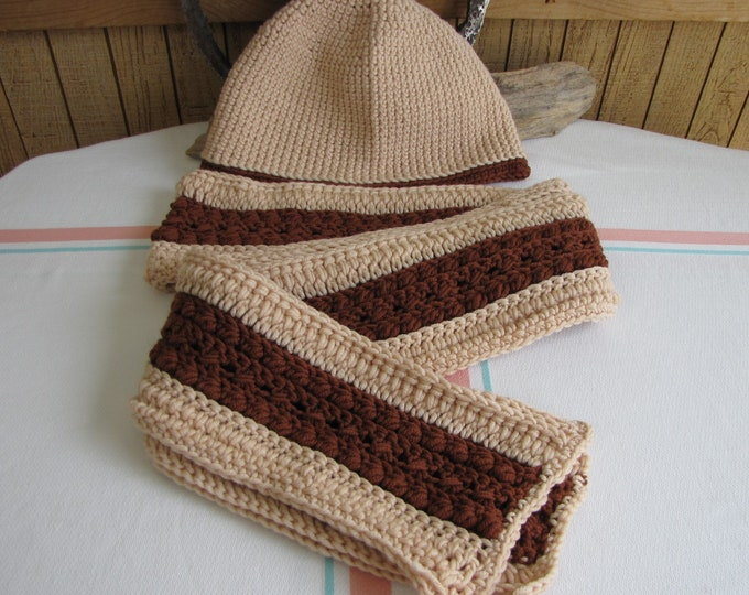 Crocheted Winter Scarf and Hat Set Irish Stitch 100% Merino Wool Butternut and Brown