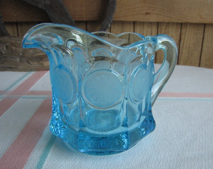 Vintage Fostoria blue presidential coin cream pitcher 1958 to 1972